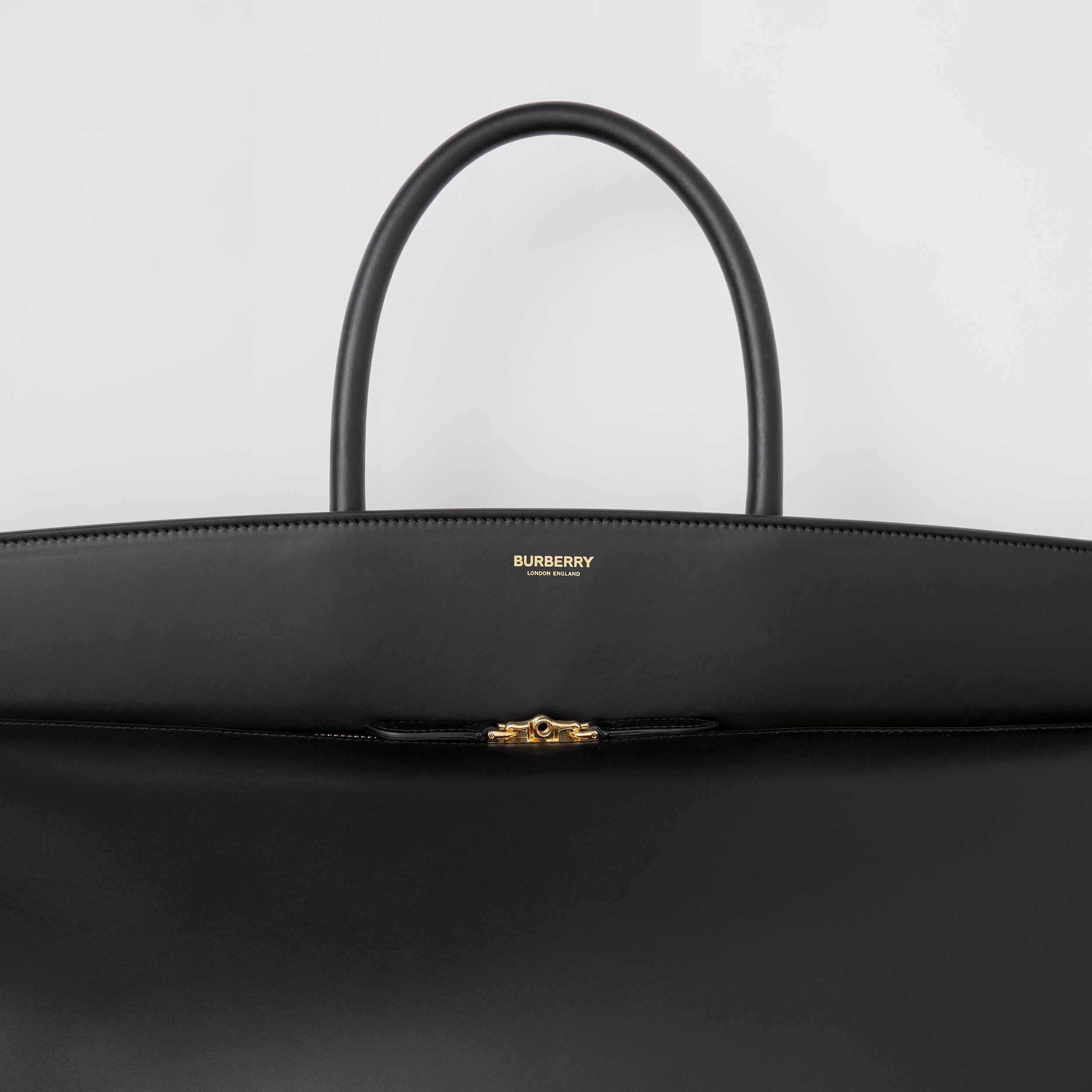 Extra Large Leather Society Top Handle Bag in Black | Burberry - 2