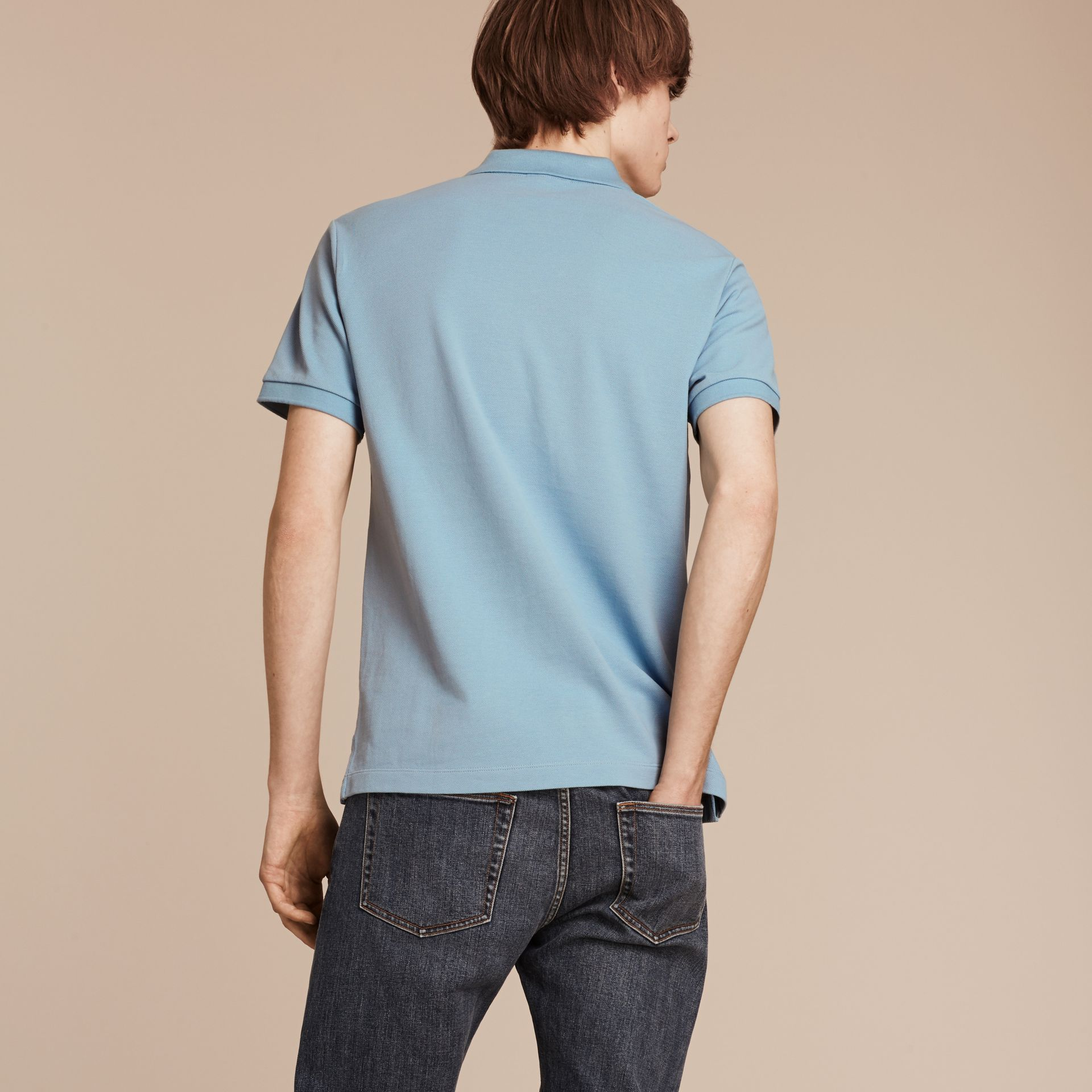Check Placket Cotton Piqué Polo Shirt Pale Blue - gallery image 3
