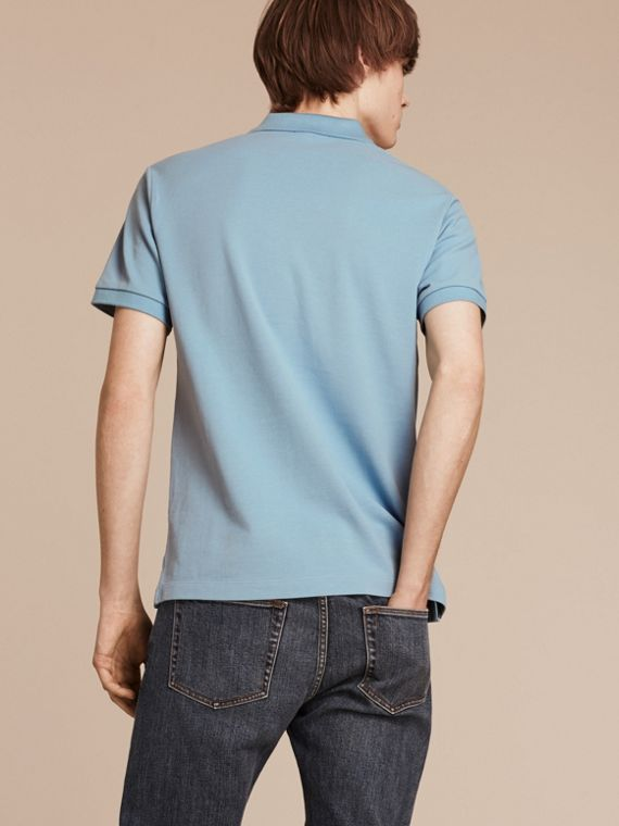 Check Placket Cotton Piqué Polo Shirt in Pale Blue - cell image 2