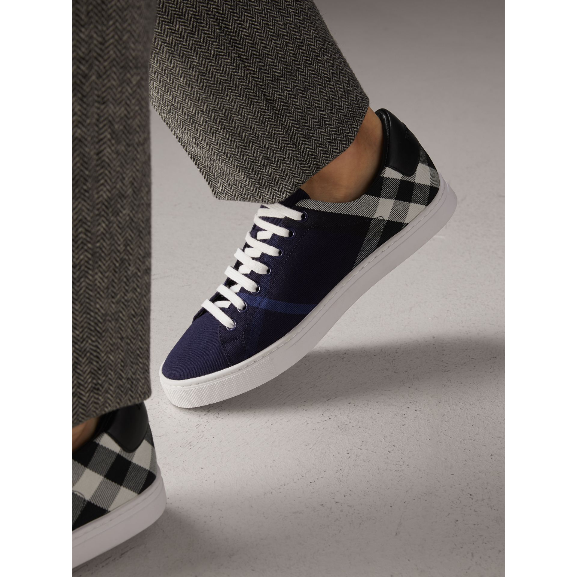 Overdyed House Check Cotton Trainers in Indigo Blue/black - Men | Burberry Australia - gallery image 3