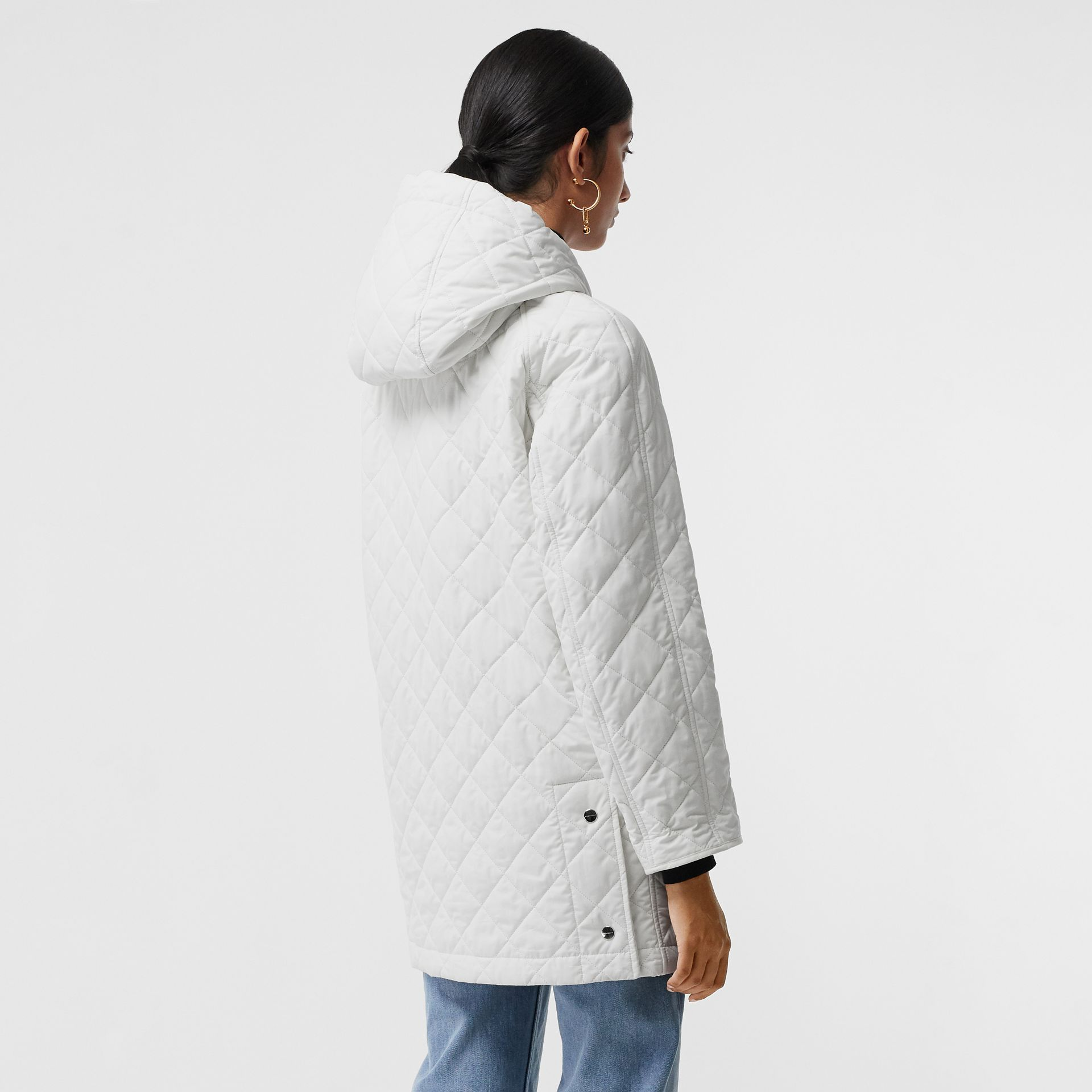 Diamond Quilted Oversized Hooded Parka in Ash White - Women | Burberry - gallery image 1