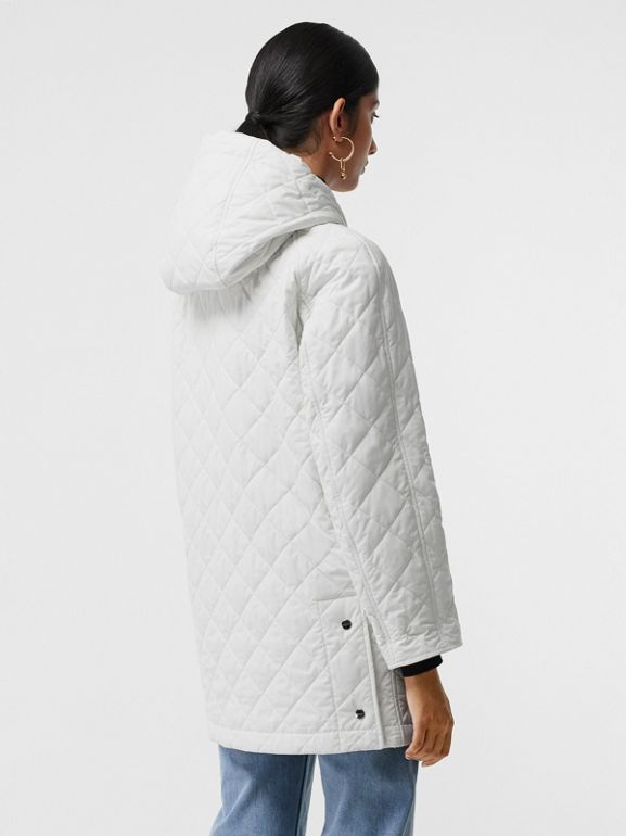 Diamond Quilted Oversized Hooded Parka in Ash White - Women | Burberry - cell image 1