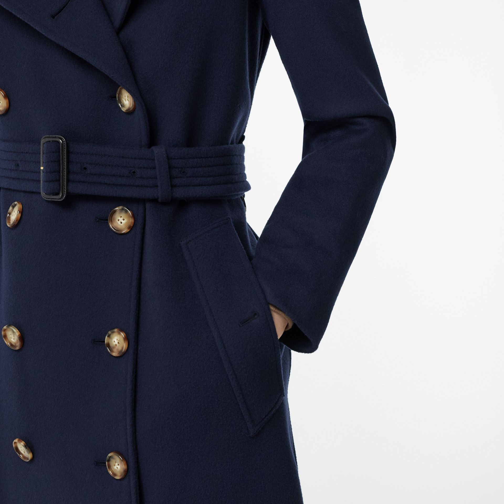 Cashmere Trench Coat in Navy - Women | Burberry - gallery image 5