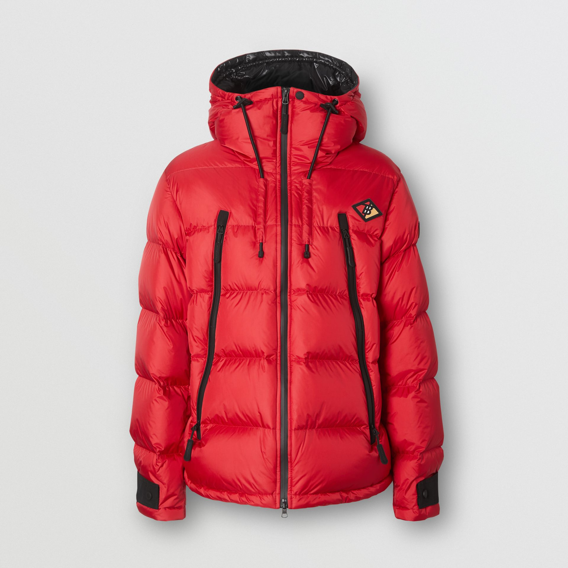 Logo Graphic Hooded Puffer Jacket in Bright Red - Men | Burberry - gallery image 0