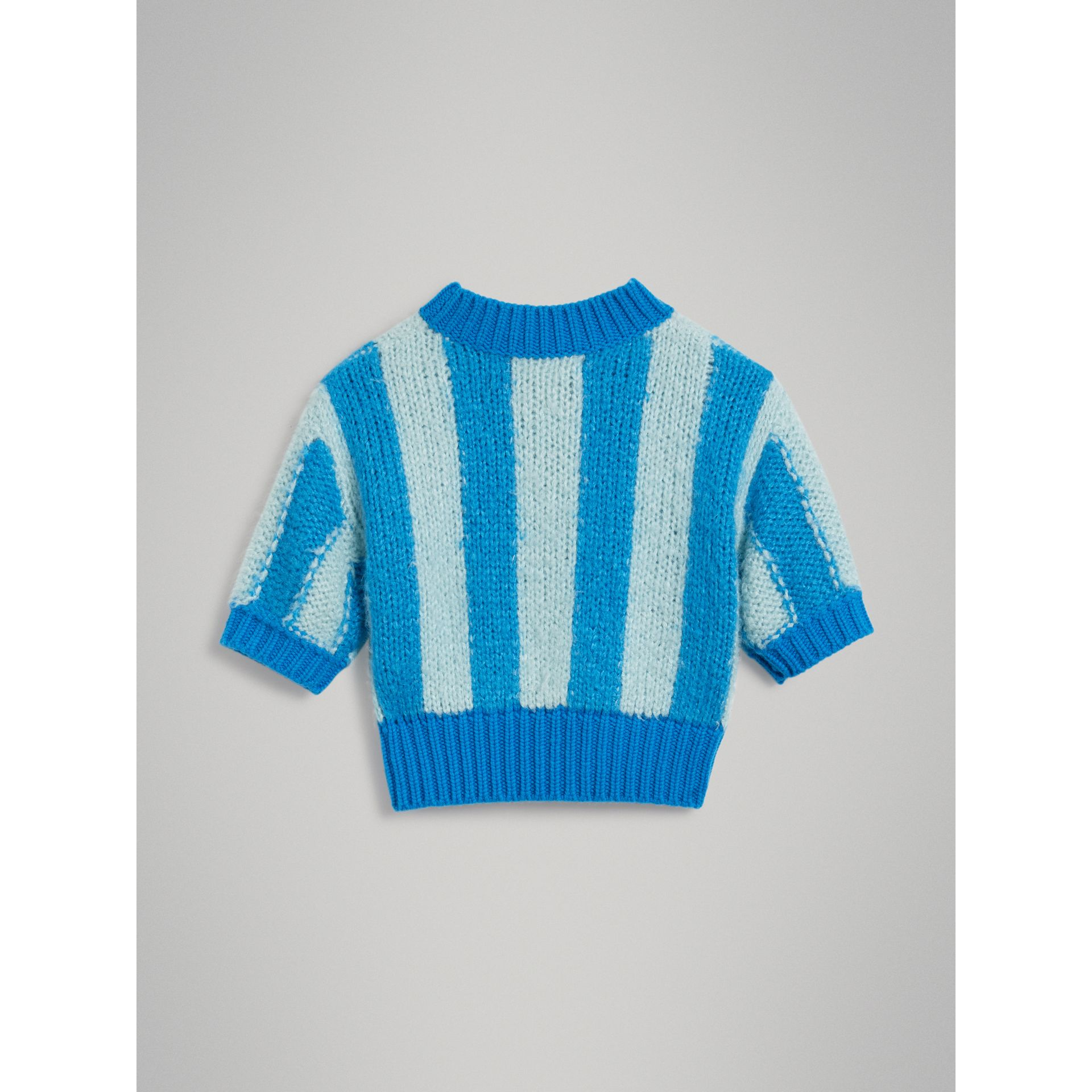 Short-sleeve Striped Silk Sweater in Bright Blue | Burberry - gallery image 3