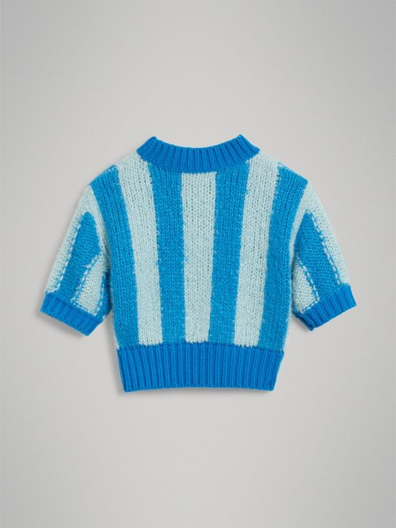 Short-sleeve Striped Silk Sweater in Bright Blue - Girl | Burberry Canada - cell image 3