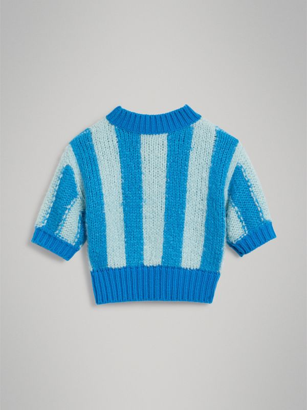 Short-sleeve Striped Silk Sweater in Bright Blue - Girl | Burberry - cell image 3