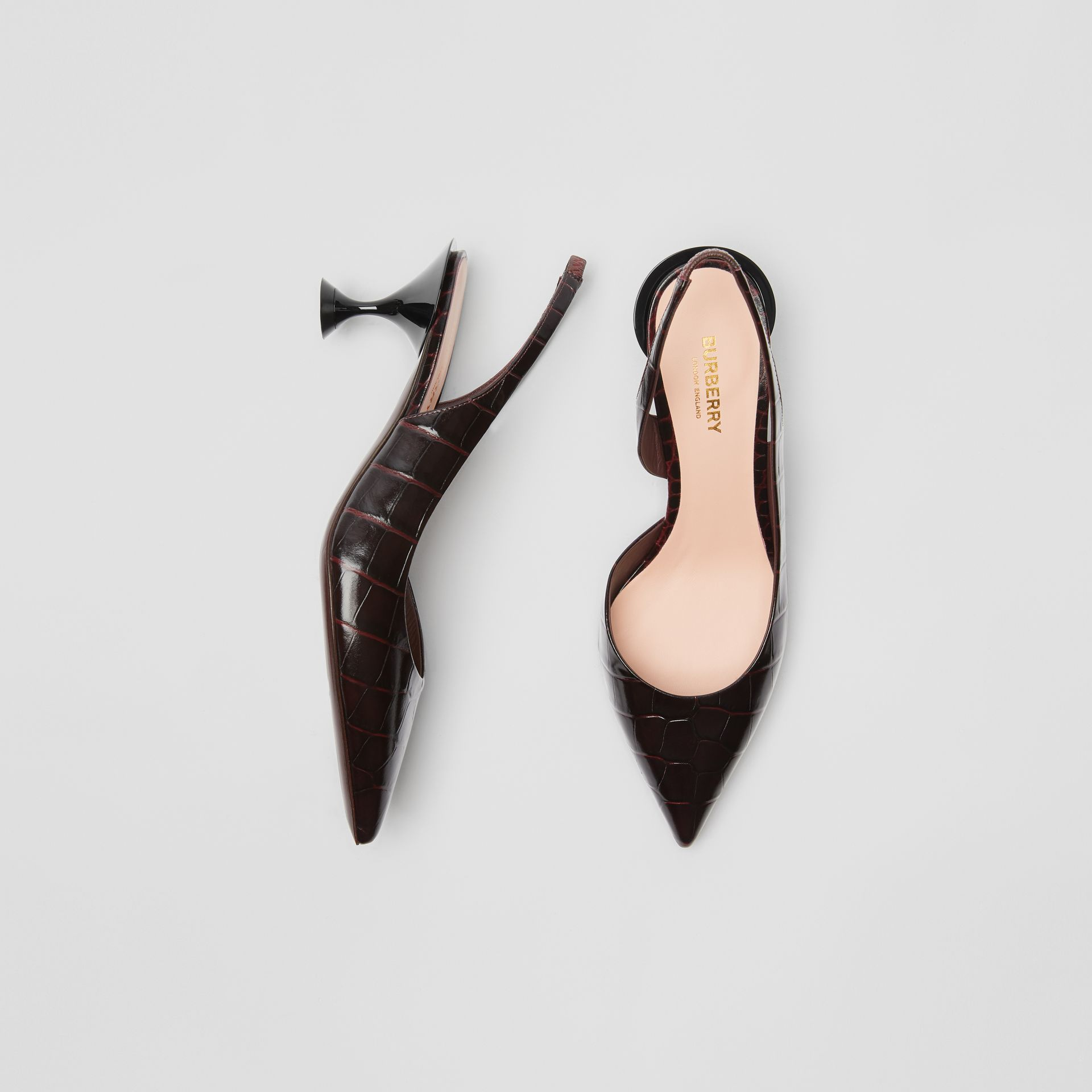 Embossed Leather Slingback Pumps in Bordeaux - Women | Burberry - gallery image 0