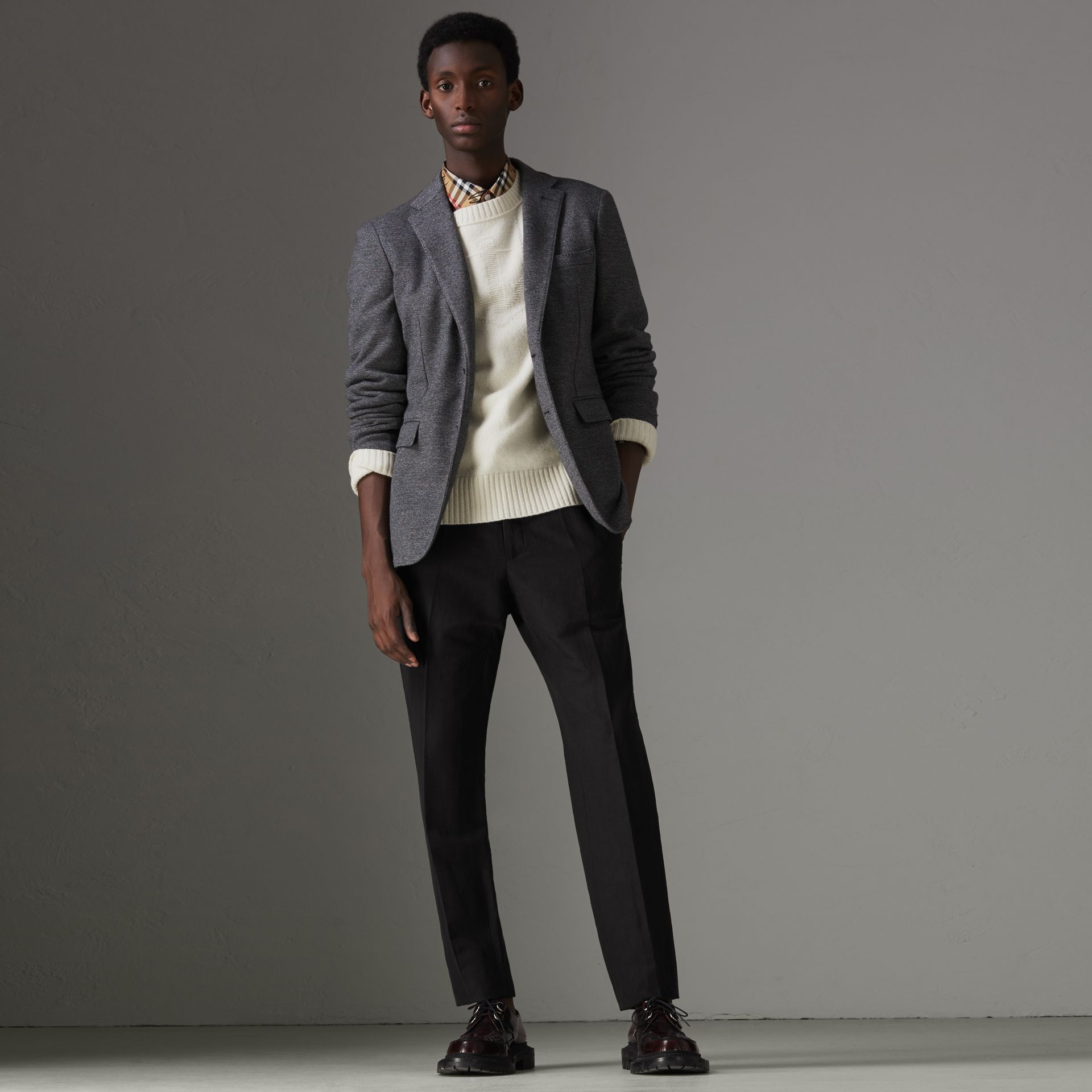 Linen Silk Tailored Trousers in Black - Men | Burberry Singapore - gallery image 0