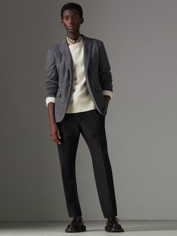 Linen Silk Tailored Trousers in Black