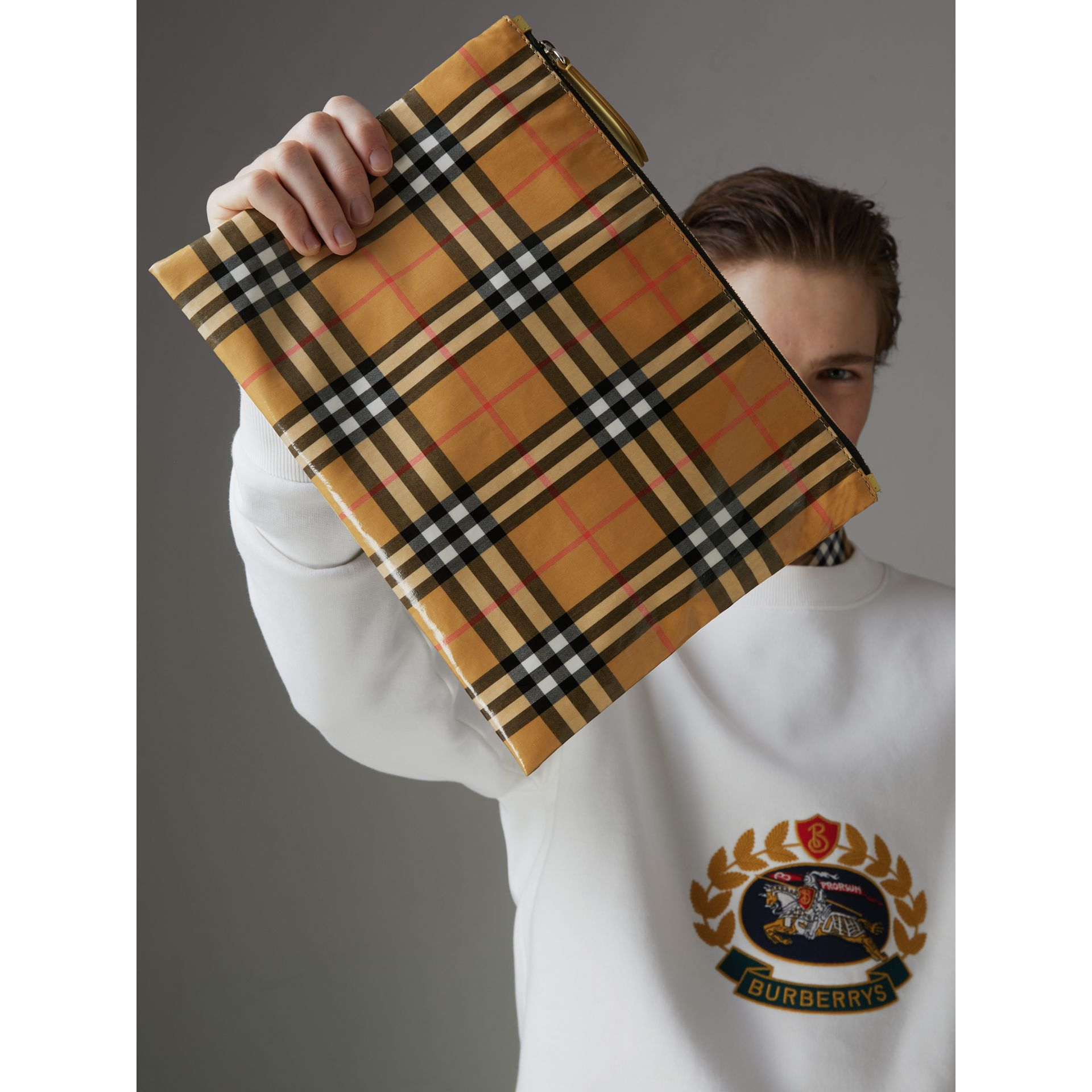 Medium Coated Vintage Check Pouch in Pale Yellow | Burberry - gallery image 5