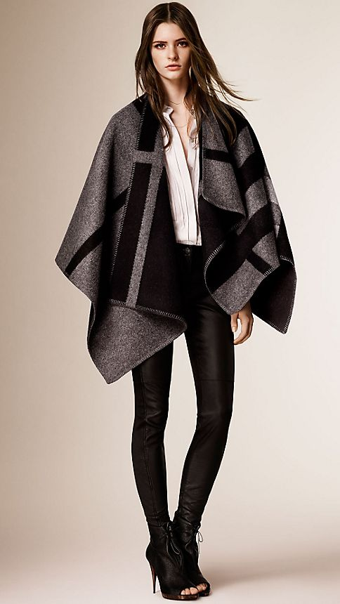 Dark grey check Check Wool and Cashmere Blanket Poncho Dark Grey - Image 5