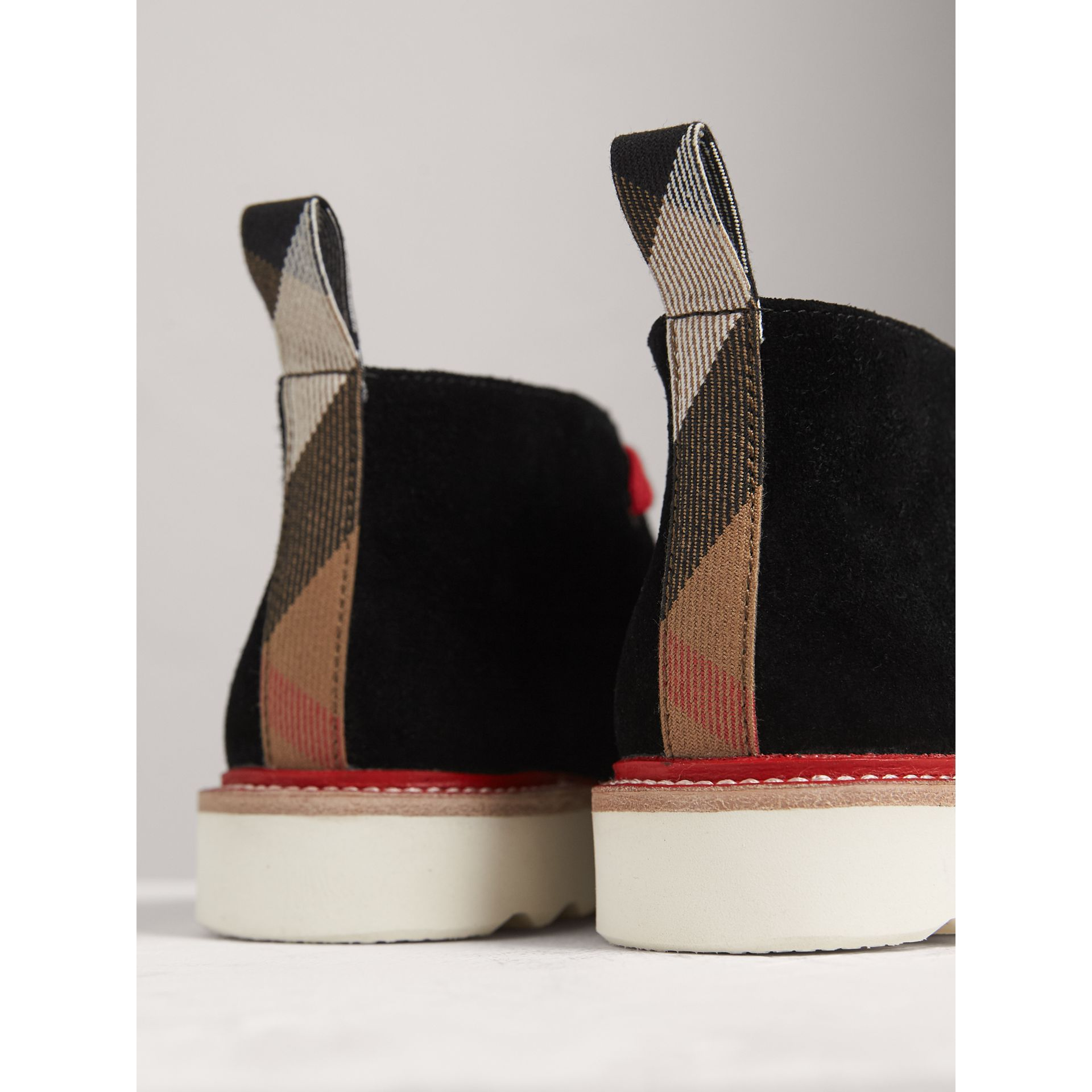Two-tone Suede Desert Boots in Black | Burberry - gallery image 1