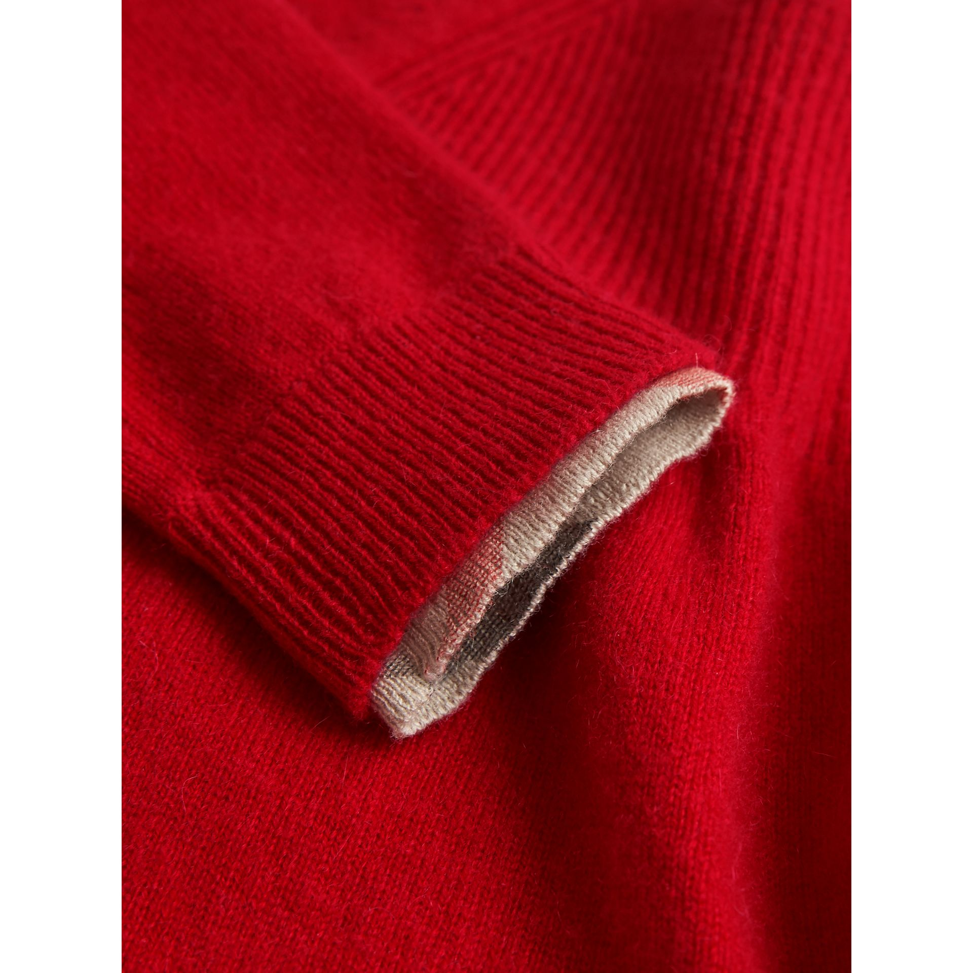 Check Cuff Knitted Cashmere Dress in Parade Red | Burberry - gallery image 1