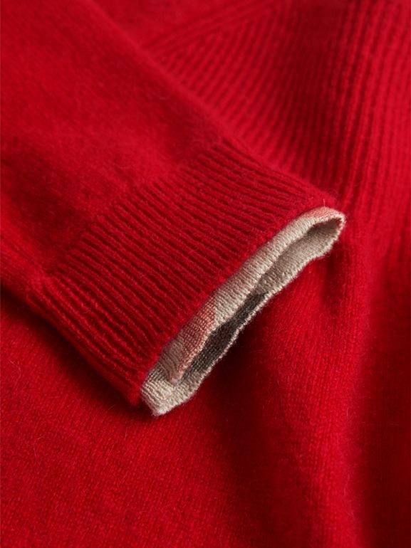 Check Cuff Knitted Cashmere Dress in Parade Red | Burberry - cell image 1