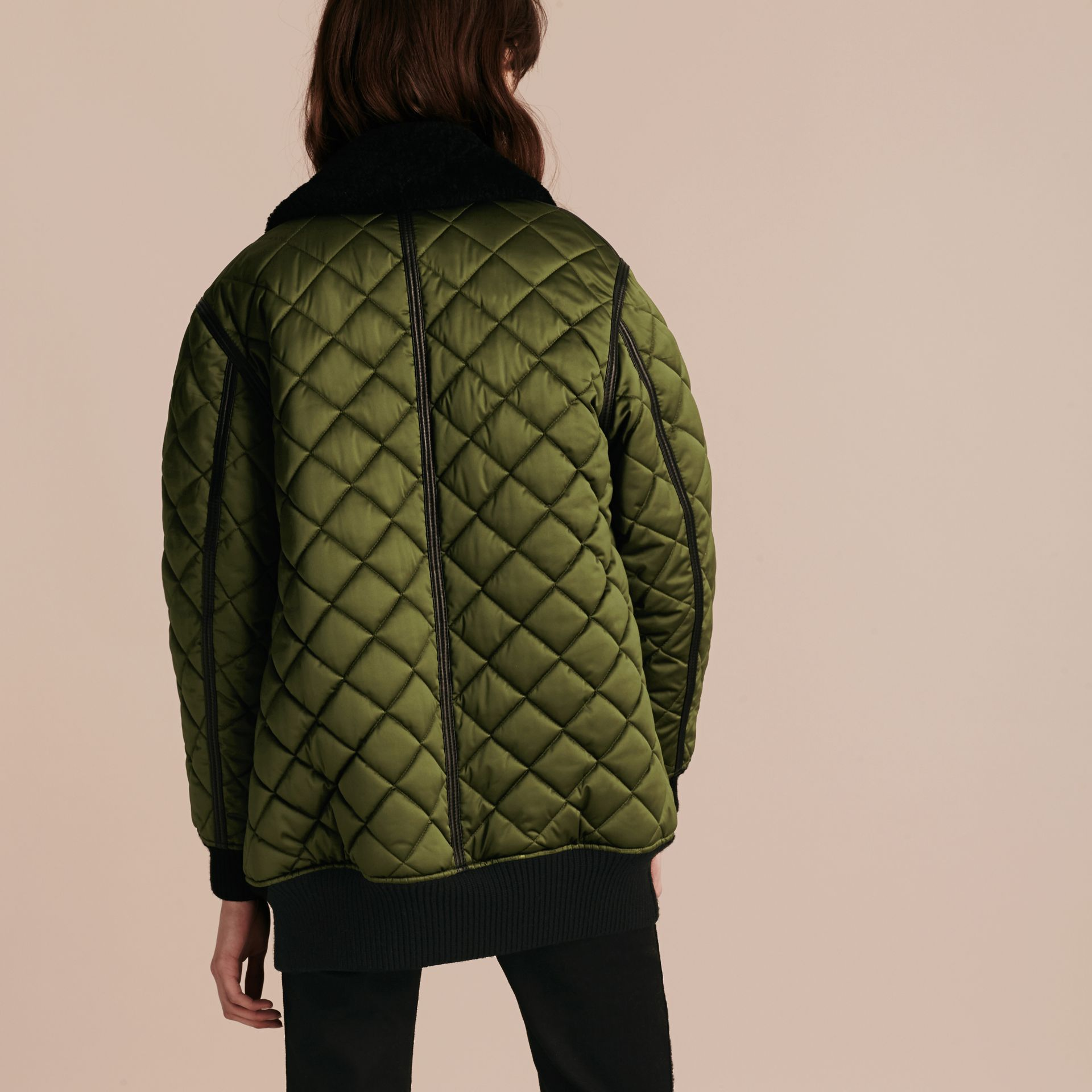 Bright moss green Long Quilted Bomber Jacket with Shearling Collar - gallery image 3