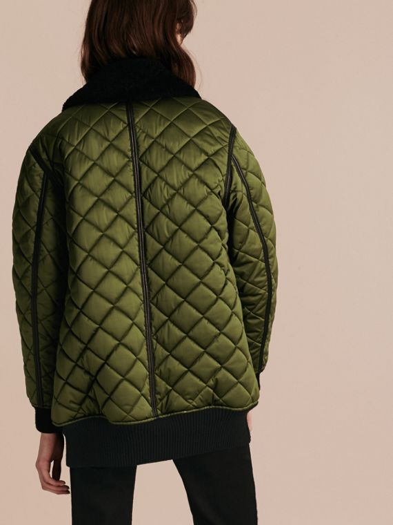 Bright moss green Long Quilted Bomber Jacket with Shearling Collar - cell image 2