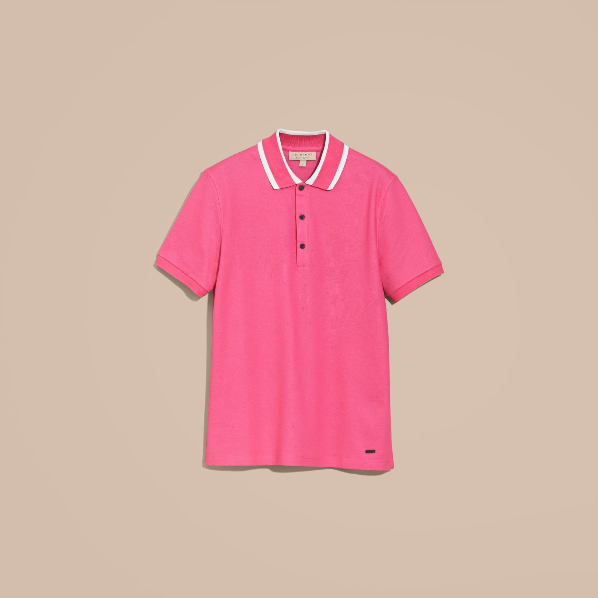 Striped Collar Cotton Piqué Polo Shirt Bright Crimson Pink - gallery image 4