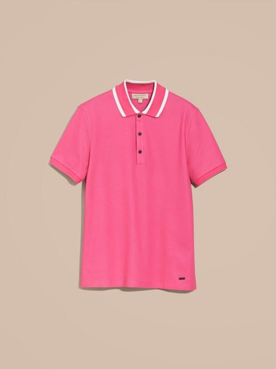 Striped Collar Cotton Piqué Polo Shirt Bright Crimson Pink - cell image 3