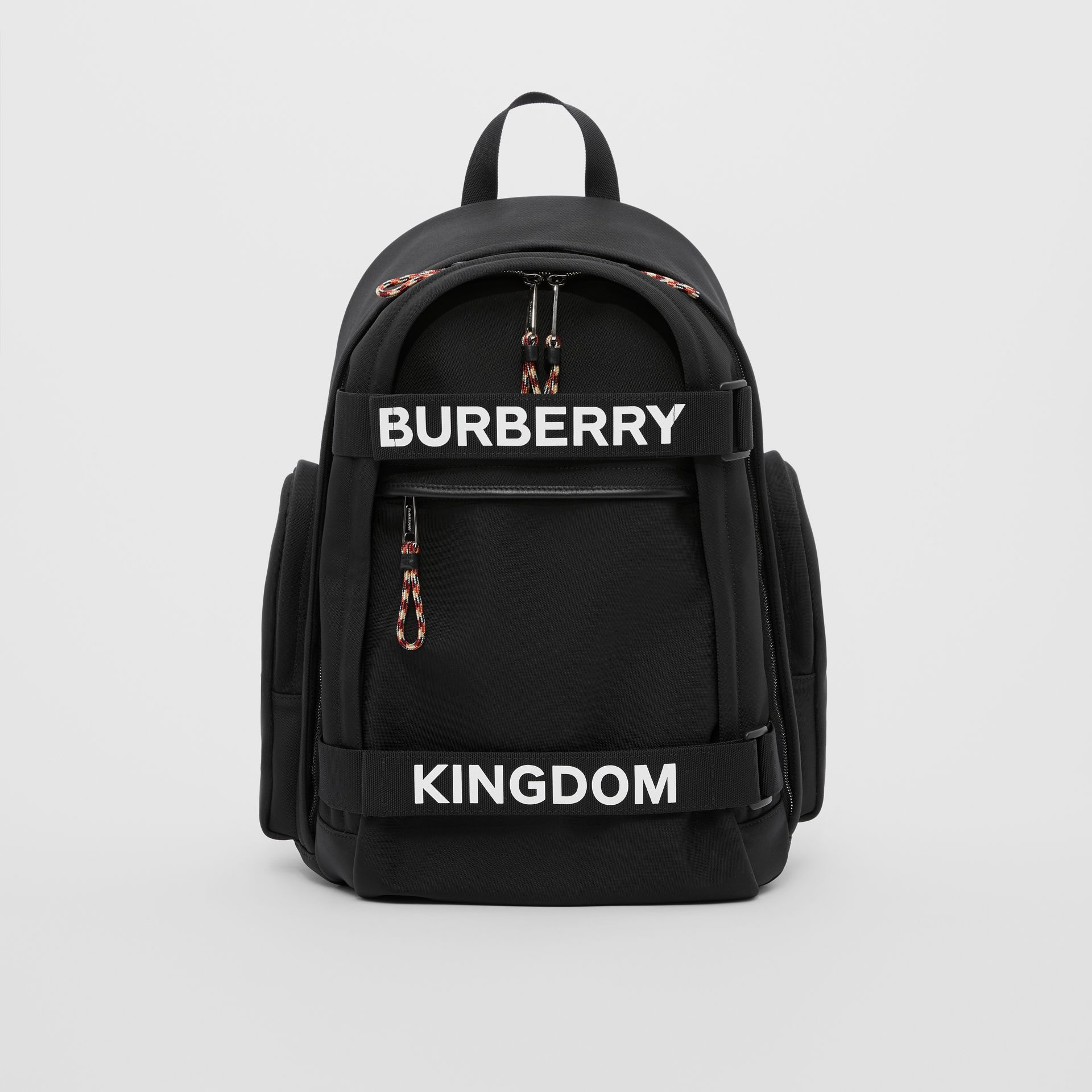 Large Logo and Kingdom Detail Nevis Backpack in Black/white | Burberry Hong Kong S.A.R - gallery image 0