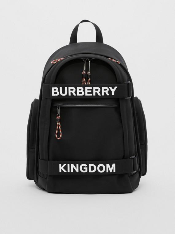 大型標誌和 Kingdom 細節 Nevis 後背包 (黑色/白色)