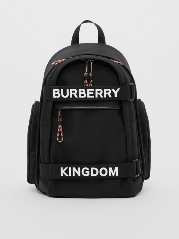 Large Logo and Kingdom Detail Nevis Backpack in Black/white