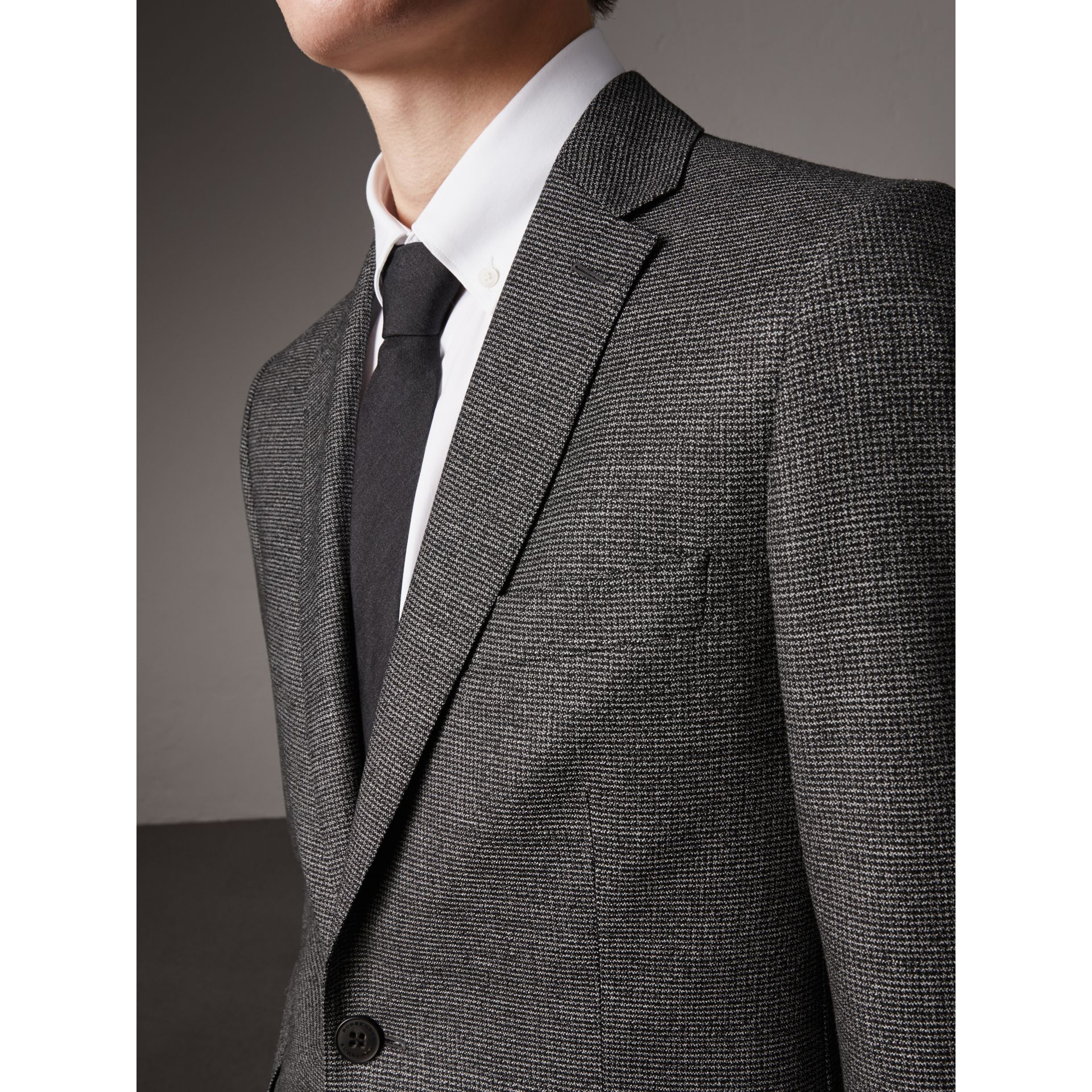 Soho Fit Houndstooth Check Wool Suit in Dark Grey Melange - Men | Burberry - gallery image 1