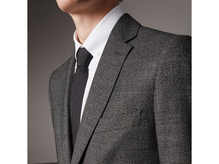 Soho Fit Houndstooth Check Wool Suit in Dark Grey Melange - Men | Burberry - cell image 1