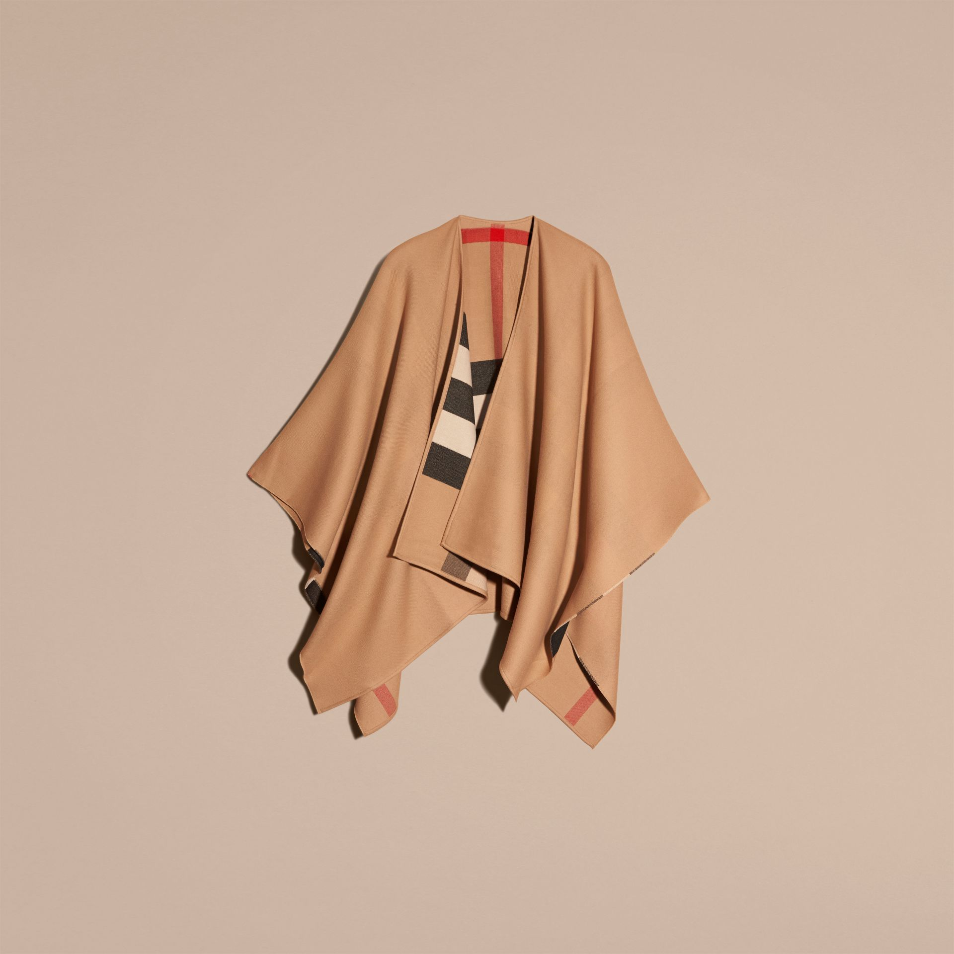 Reversible Check Merino Wool Poncho in Camel - Women | Burberry - gallery image 4
