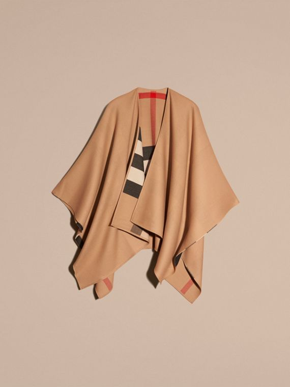 Reversible Check Merino Wool Poncho Camel - cell image 3