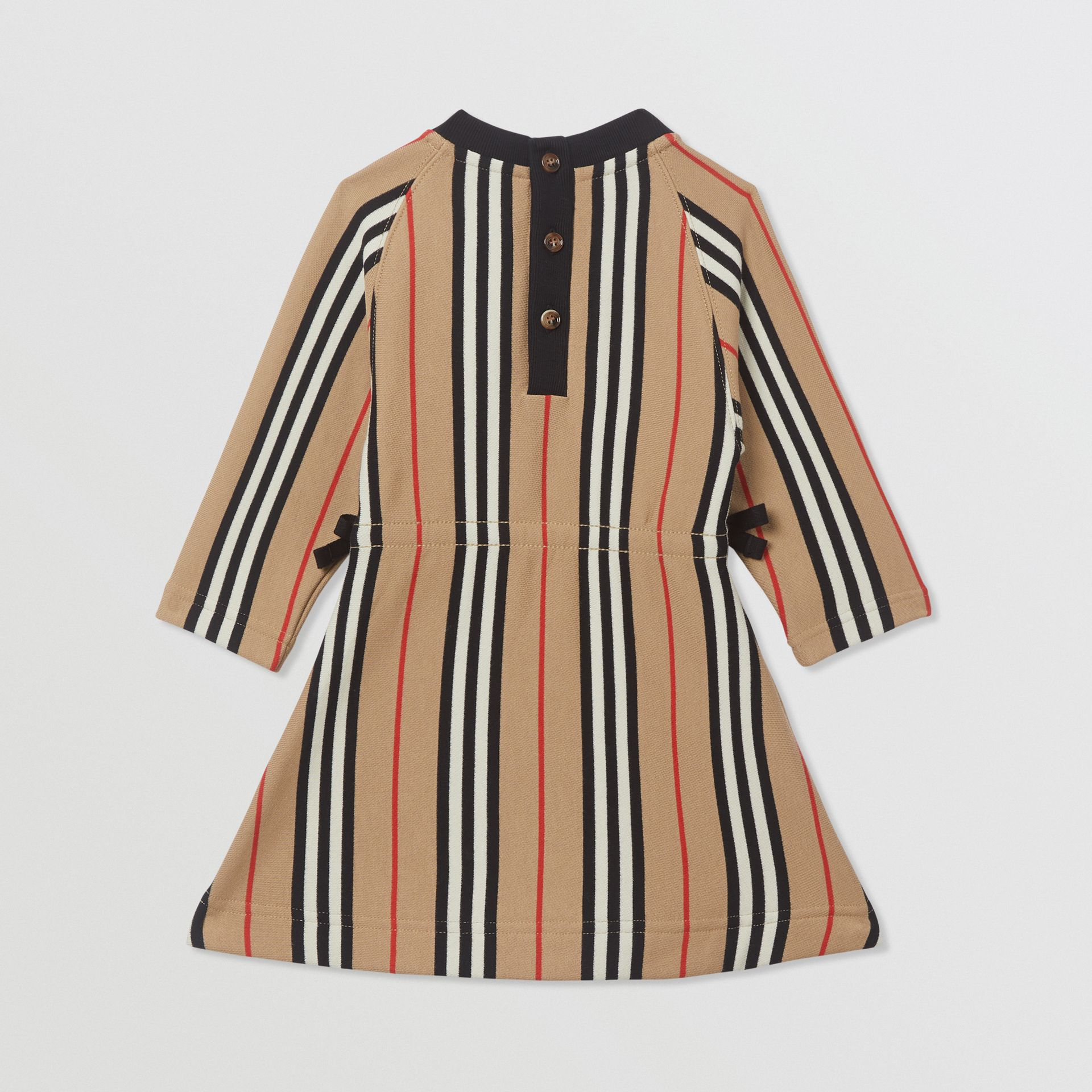 Long-sleeve Icon Stripe Cotton Dress in Archive Beige - Children | Burberry - gallery image 3