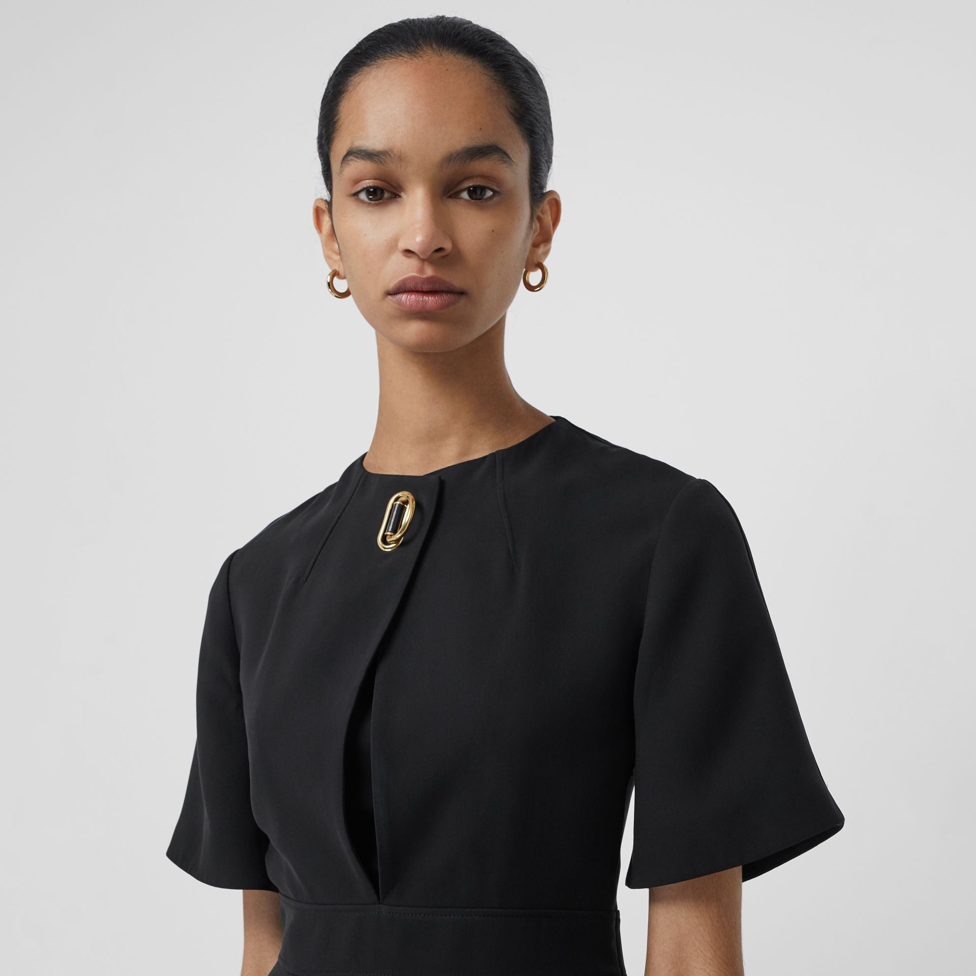 Short-sleeve D-ring Detail Silk Wool Dress in Black - Women | Burberry - gallery image 1