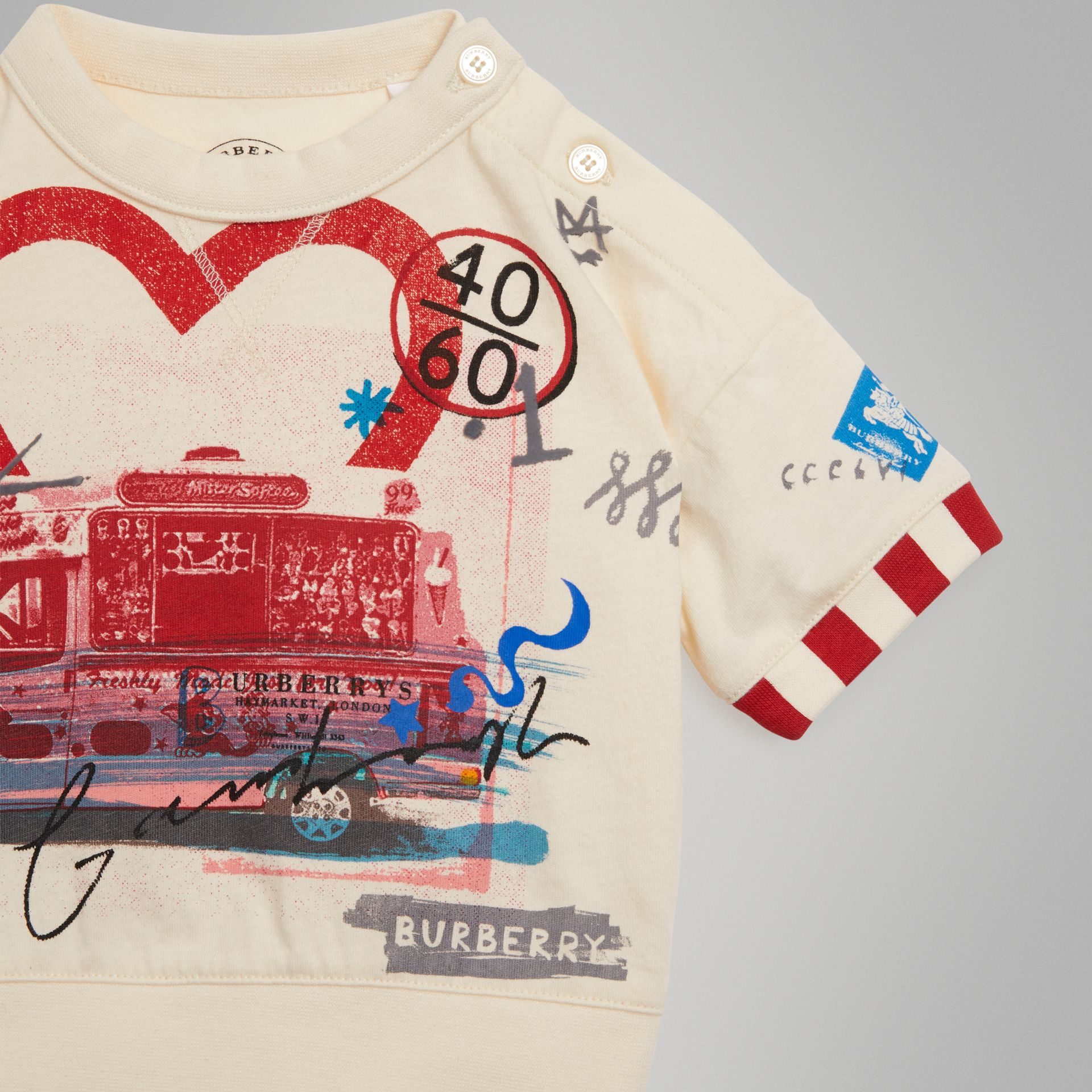 Postcard Motif Cotton T-shirt in Chalk White - Children | Burberry - gallery image 4