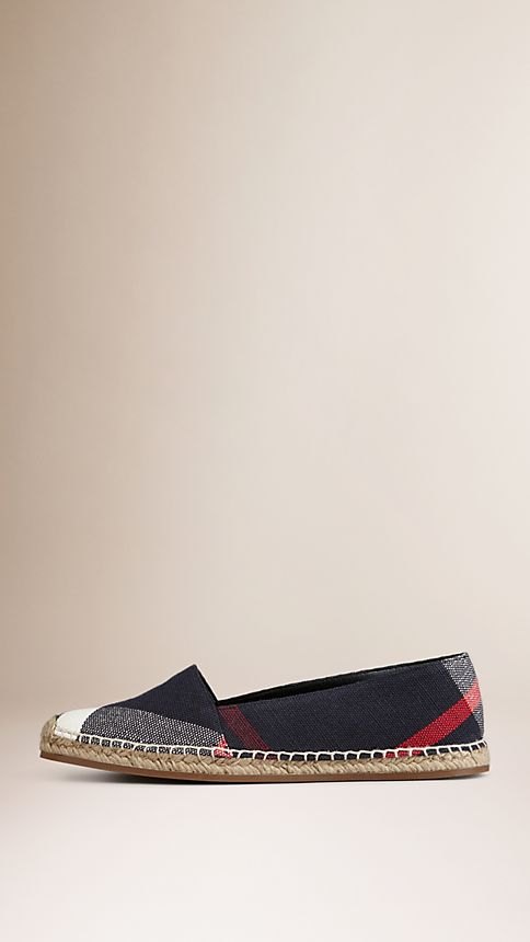 Navy check Check Jute Cotton Espadrilles - Image 2