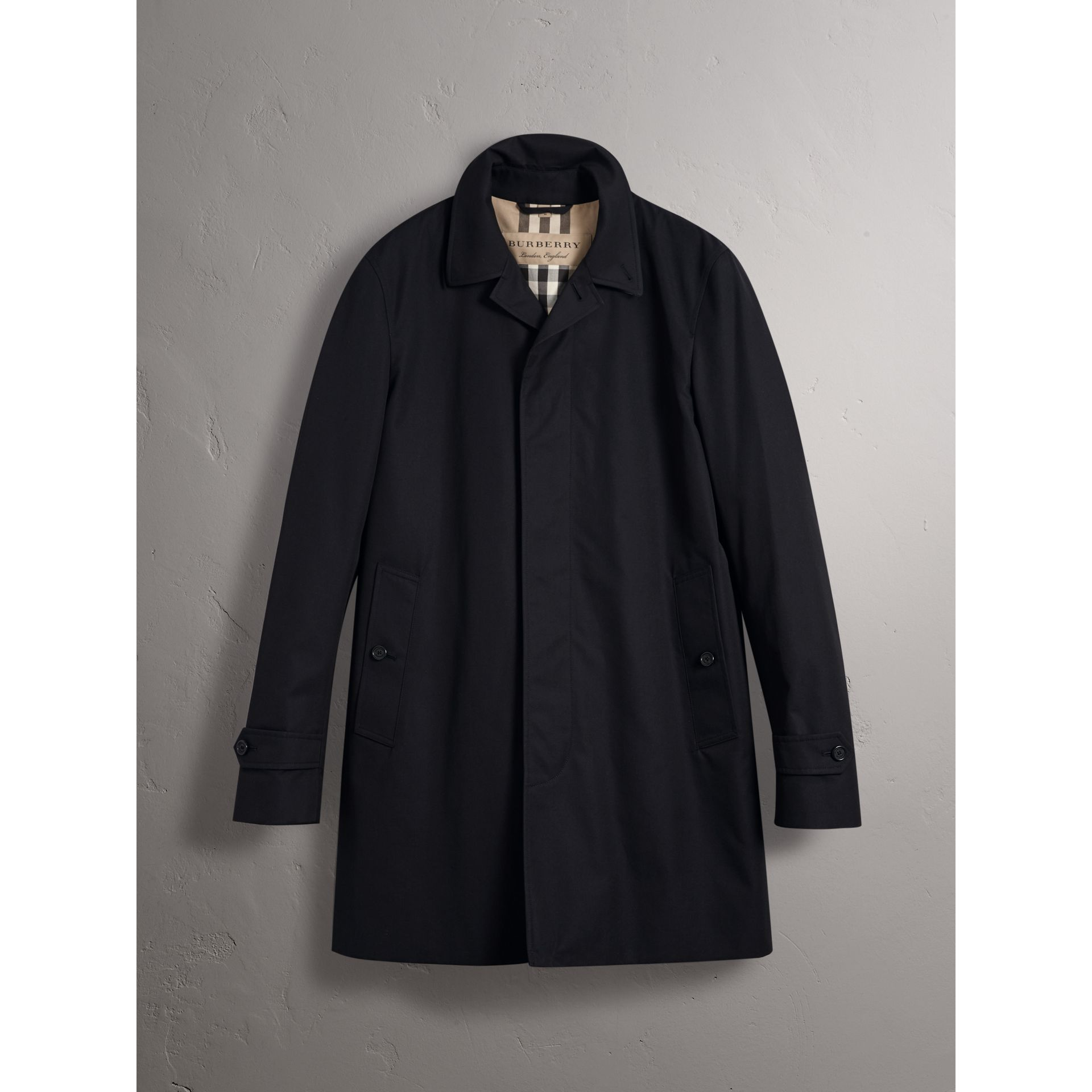 Resin Button Cotton Gabardine Car Coat in Navy - Men | Burberry - gallery image 4