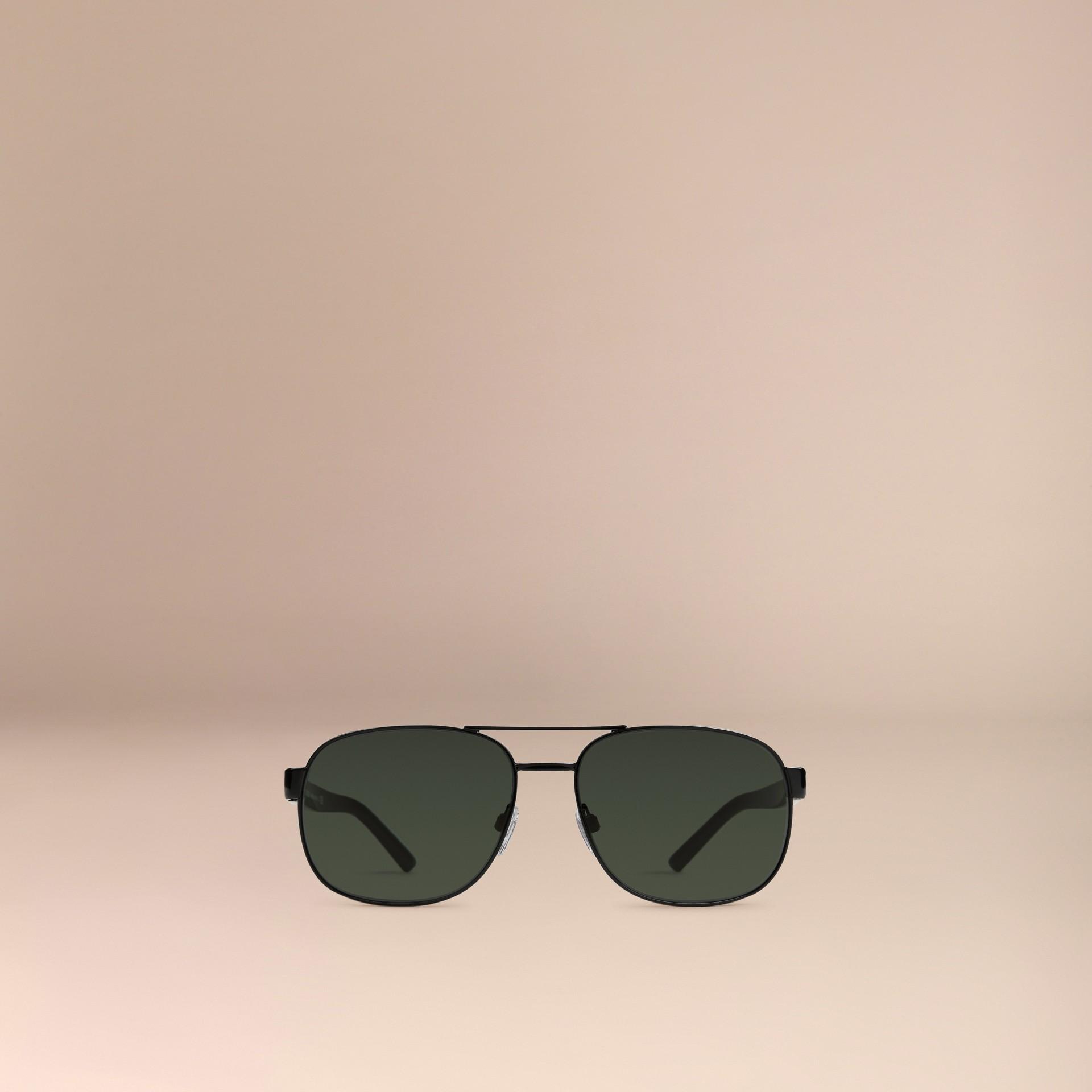 Shiny black Square Frame Aviator Sunglasses Shiny Black - gallery image 3