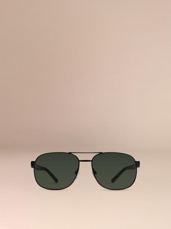 Shiny black Square Frame Aviator Sunglasses Shiny Black - cell image 2