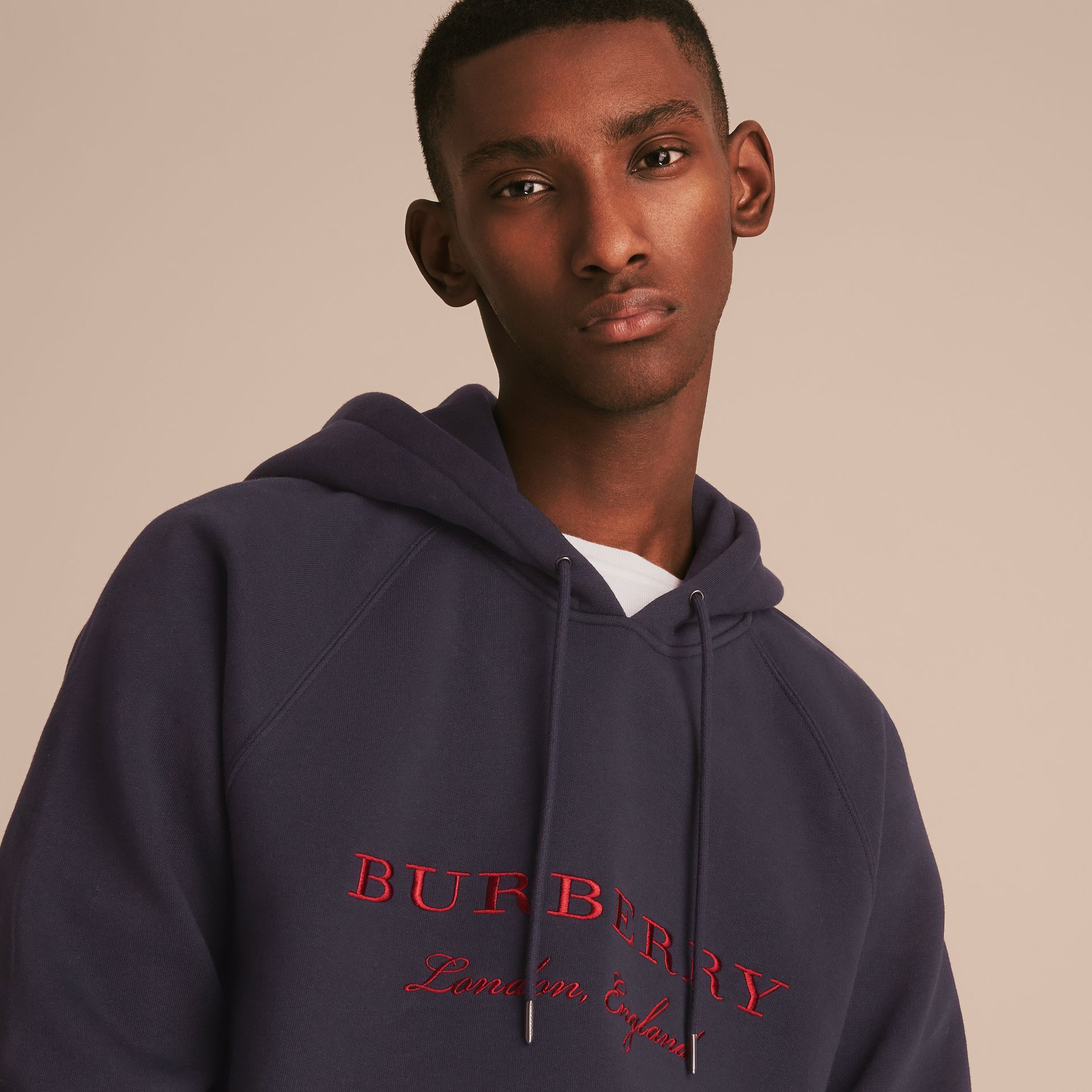 Embroidered Hooded Sweatshirt in Navy - gallery image 5