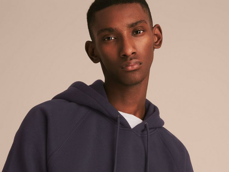 Embroidered Hooded Sweatshirt in Navy - cell image 4