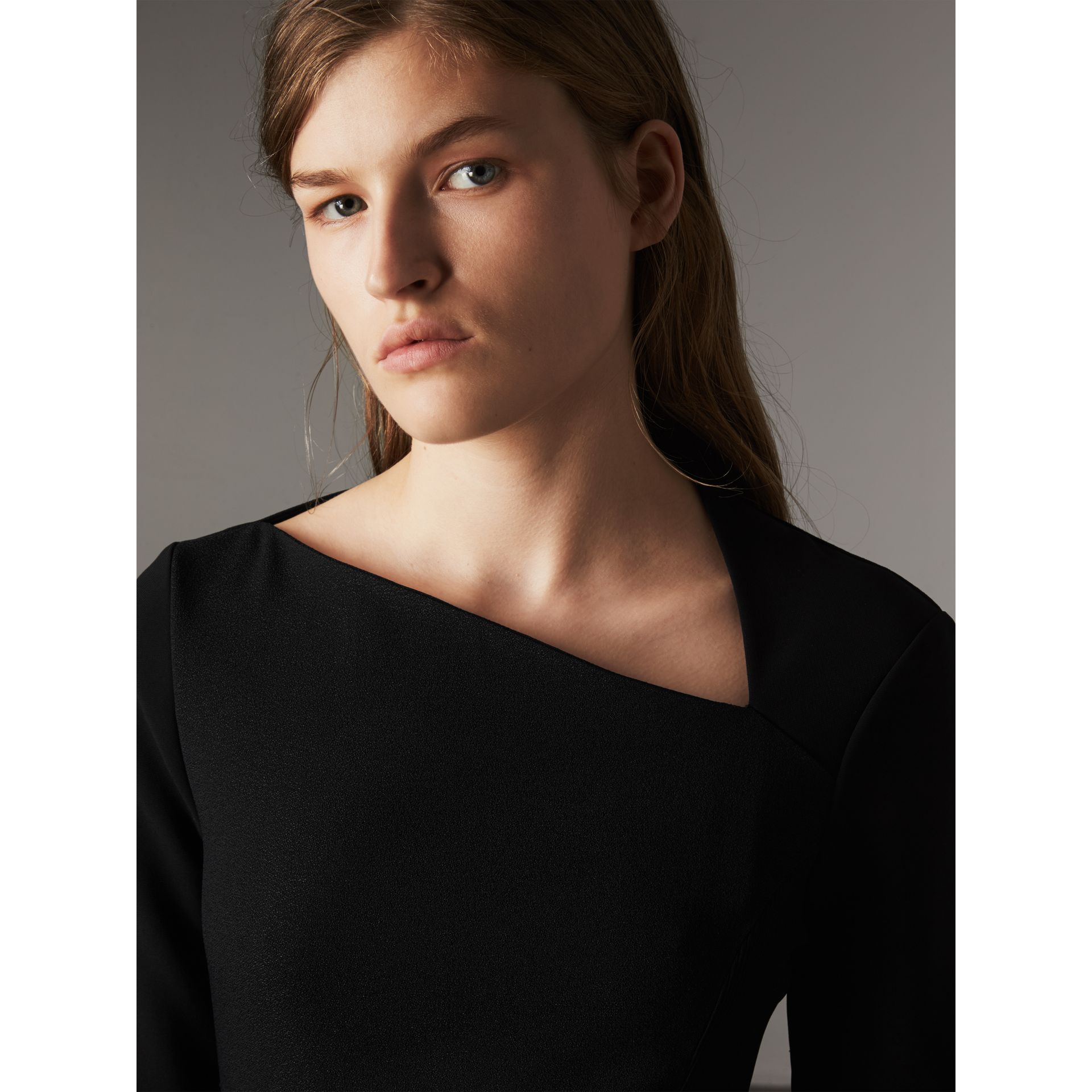 Slash-neck Panelled Dress in Black - Women | Burberry - gallery image 2