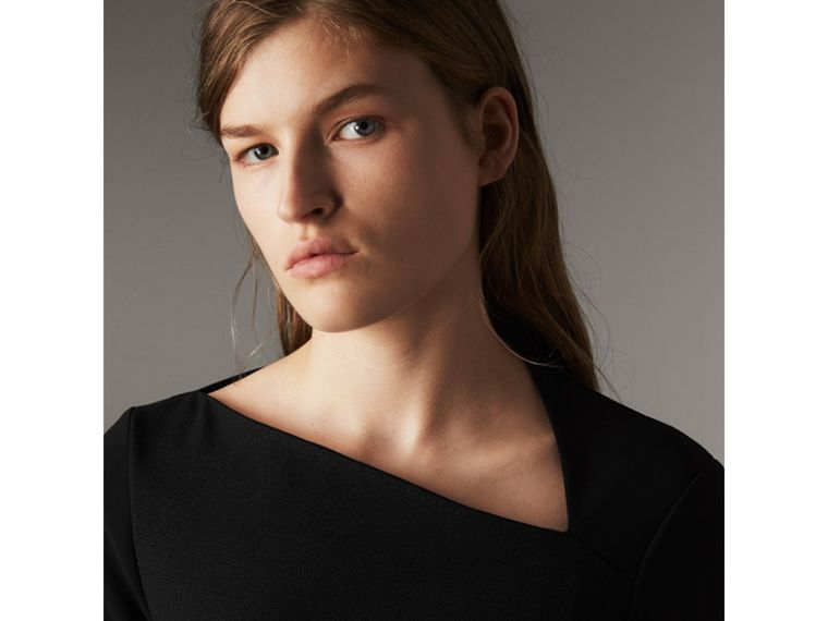 Slash-neck Panelled Dress in Black - Women | Burberry - cell image 1