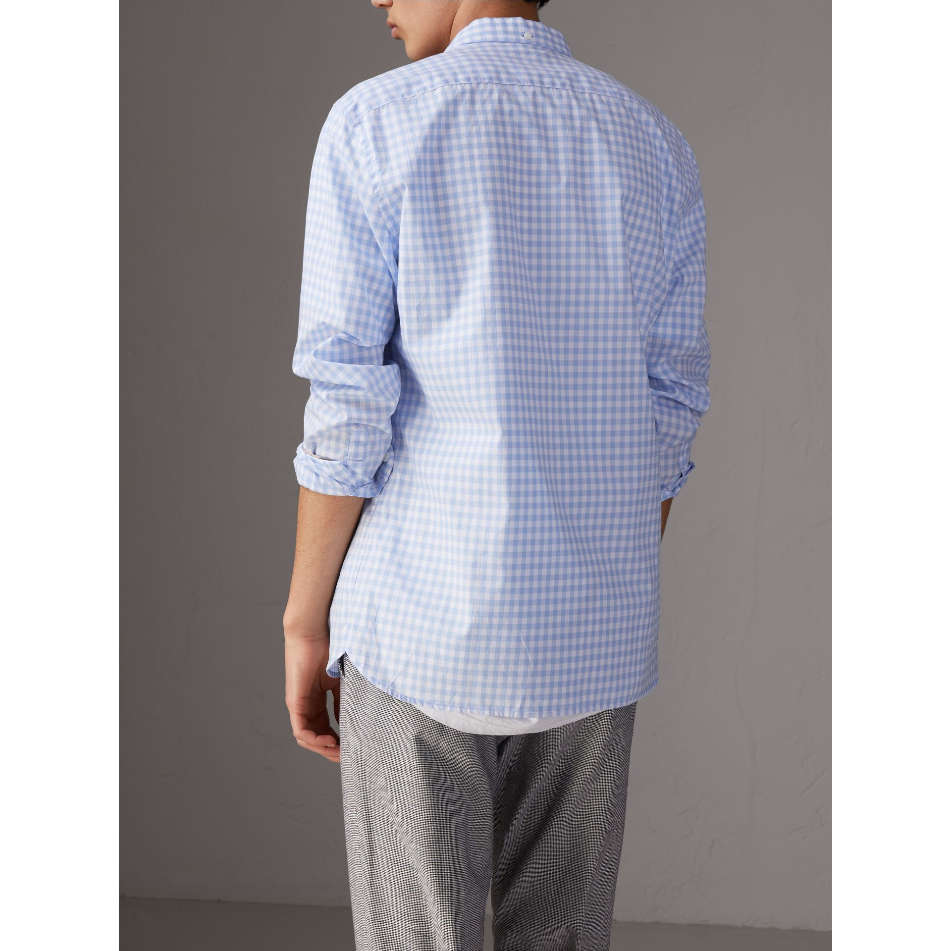 Button-down Collar Gingham Cotton Shirt in Pale Blue - Men | Burberry - gallery image 3