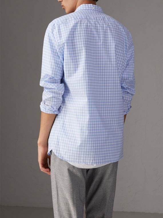 Button-down Collar Gingham Cotton Shirt in Pale Blue - Men | Burberry Australia - cell image 2