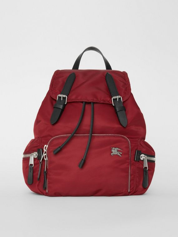 The Medium Rucksack in Nylon and Leather in Burgundy Red