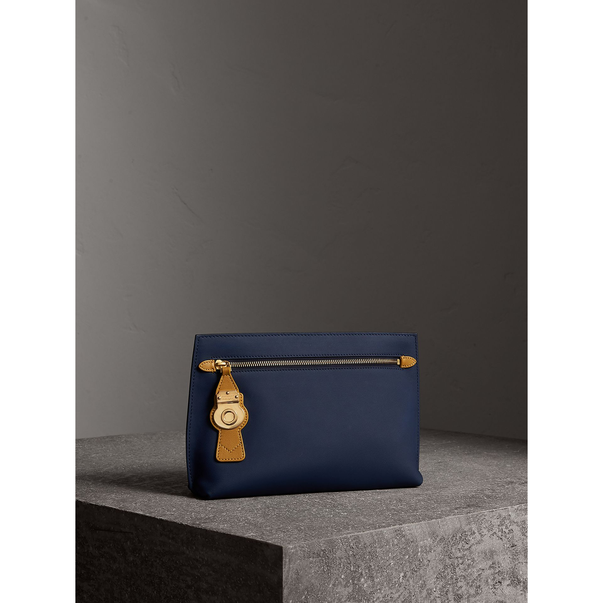 Two-tone Trench Leather Wristlet Pouch in Ink Blue/ochre Yellow - Women | Burberry Australia - gallery image 6