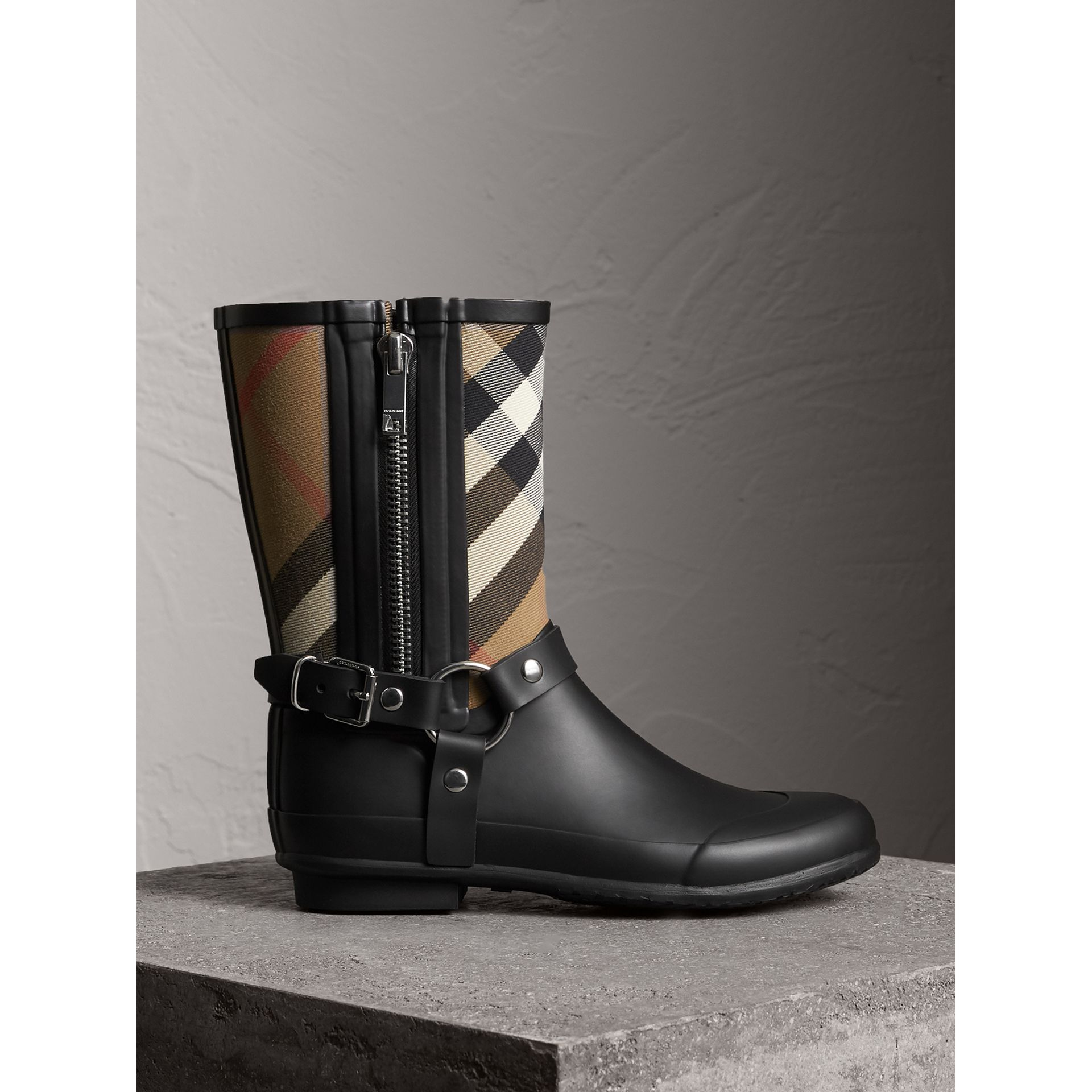 Buckle and Strap Detail Check Rain Boots in House Check/black - Women | Burberry - gallery image 1
