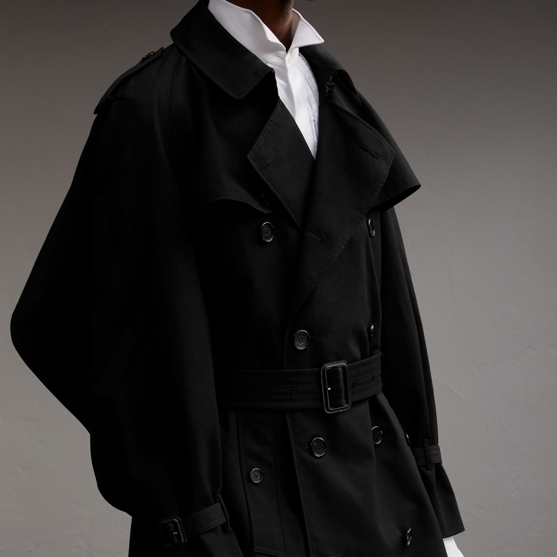 Cotton Gabardine Sculptural Trench Coat in Black - Men | Burberry - gallery image 5