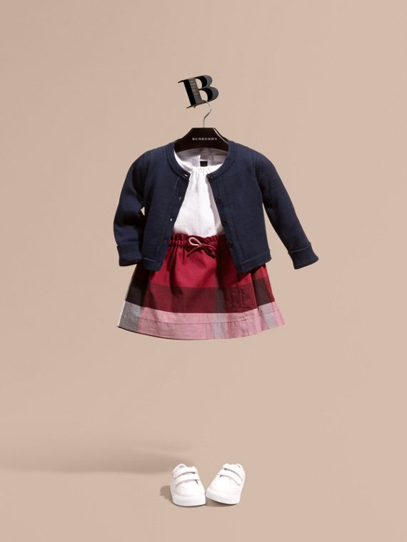Cardigan in cotone con risvolti check (Navy) | Burberry