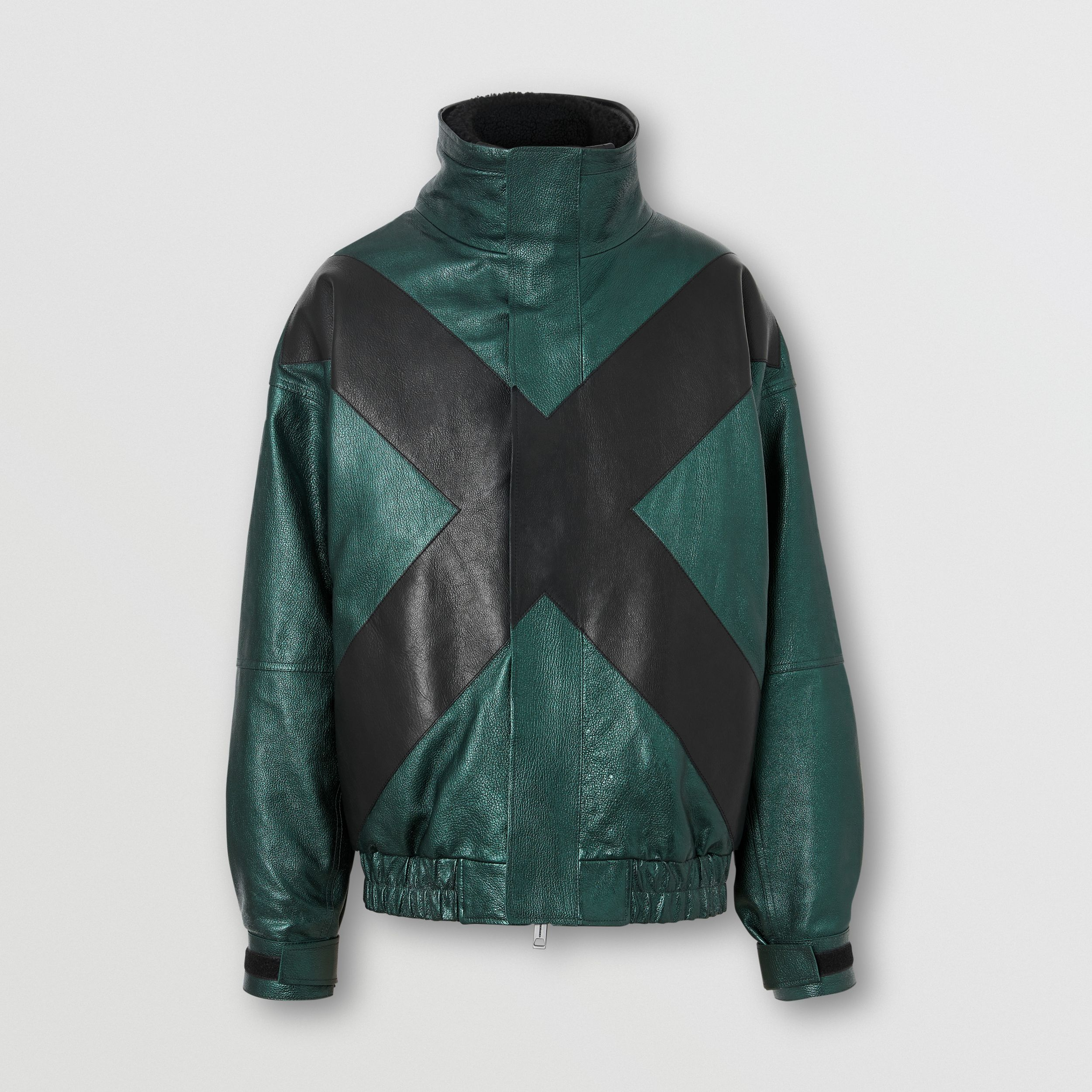 Metallic Leather Jacket with Detachable Warmer in Green - Men | Burberry - 4
