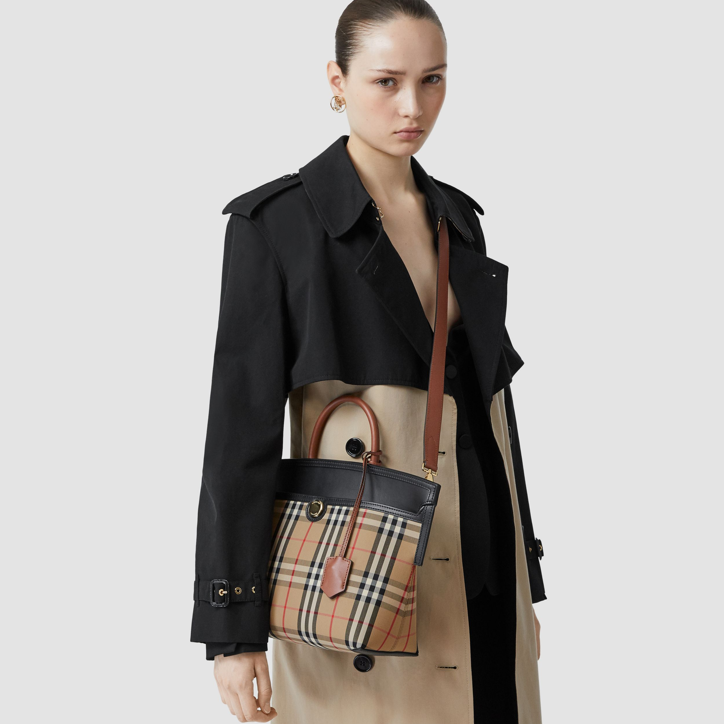 Small Vintage Check Society Top Handle Bag in Archive Beige/black - Women | Burberry Canada - 3